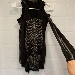 Skeleton Halloween Costume Hooded Long Sleeve